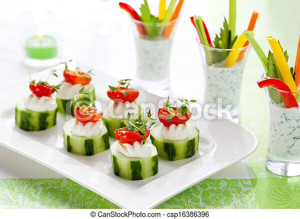 Holiday vegetable appetizers  - csp16386396