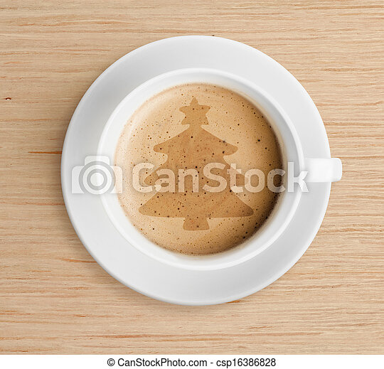 coffee cup with christmas tree shape on foam - csp16386828