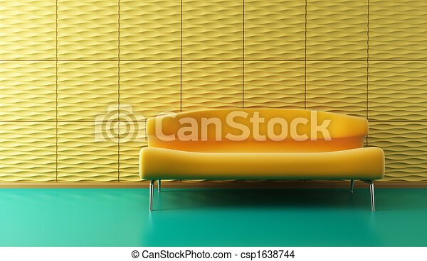 pop-art lounge room with couch - csp1638744