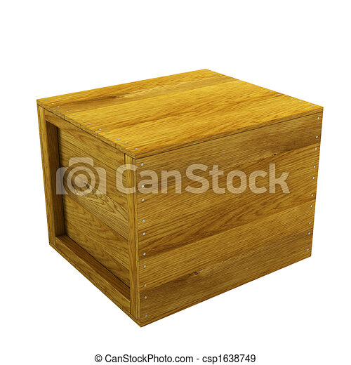 isolated wooden crate - csp1638749