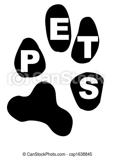 Clipart Vector Of Pets Inside Paw Print Paw Print With