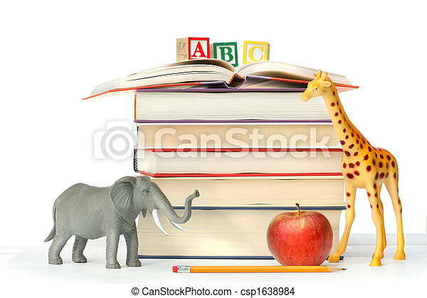 Stack of books with toy animals  - csp1638984