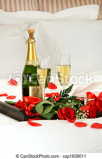 Romantic evening with champagne for Valentine\'s Day