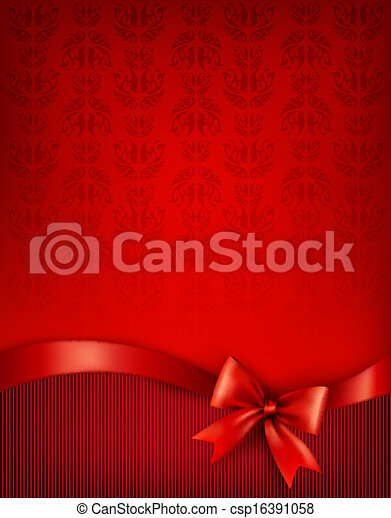 Holiday background with gift glossy bow and ribbon. Vector illustration. - csp16391058