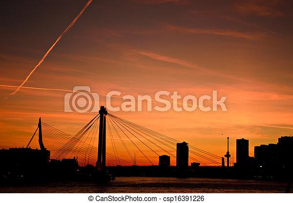 Rotterdam city sunset skyline - csp16391226