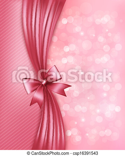 Holiday pink background with gift glossy bow and ribbon. Vector - csp16391543