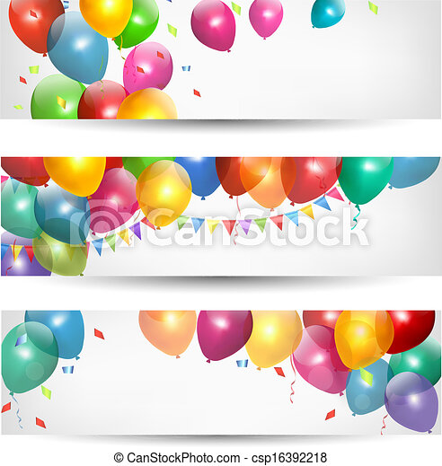 Holiday banners with colorful balloons. Vector. - csp16392218