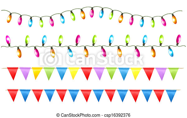 Strings of holiday lights and birthday flags white background. Vector illustration. - csp16392376