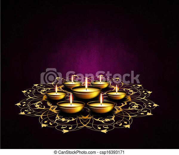 oil lamps with place for diwali greetings over dark background - csp16393171