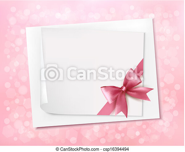 Holiday background with gift pink bow and ribbon. Vector - csp16394494