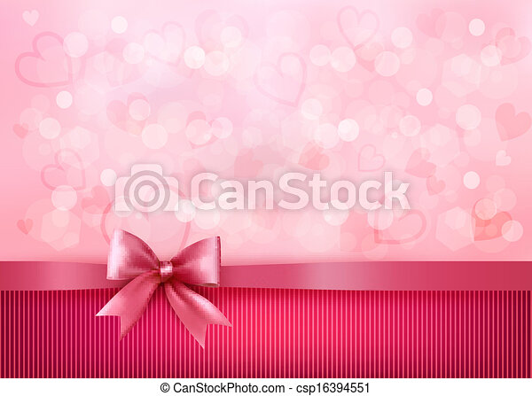 Holiday background with gift pink bow and ribbon. Valentines Day. Vector - csp16394551