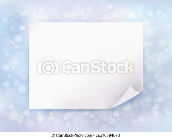 Holiday blue background with Christmas sheet of paper. Vector illustration - csp16394678