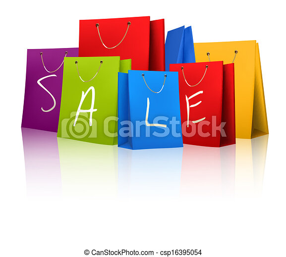 Sale shopping bags. Concept of discount. Vector illustration - csp16395054