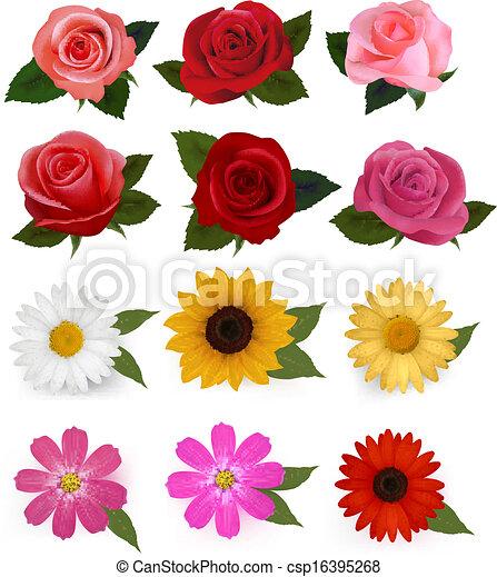 Big set of beautiful colorful flowers. Vector illustration. - csp16395268