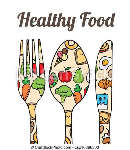 Vektor Clipart von gesunde, Lebensmittel, aus, weißes ...