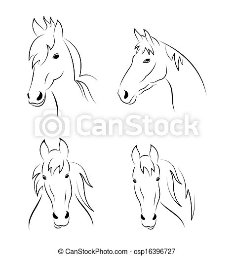 Horse Symbols Drawings Set Symbols Outline Head Horse
