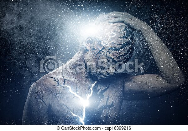 Man with conceptual spiritual body art - csp16399216