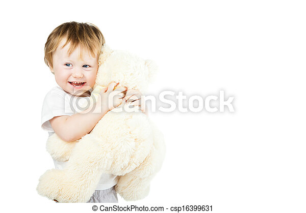 cute funny infant baby girl with big toy bear - csp16399631