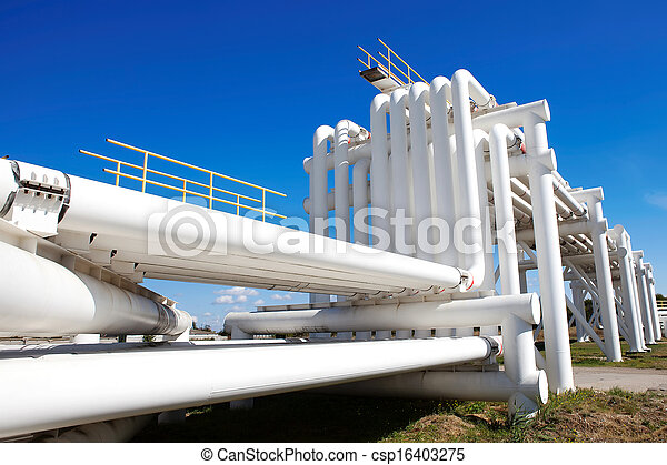Industrial pipe with gas and oil and water - csp16403275