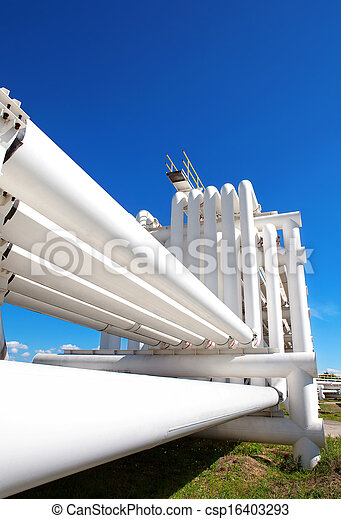 Industrial pipe with gas and oil and water - csp16403293