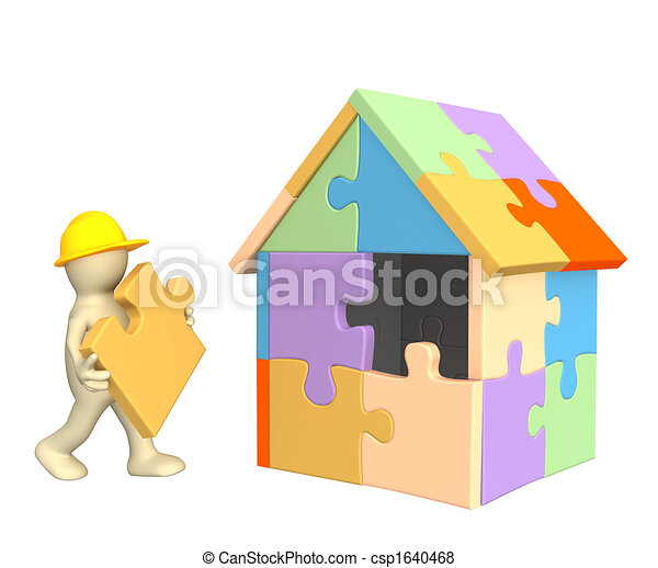3d working puppet building the house  - csp1640468