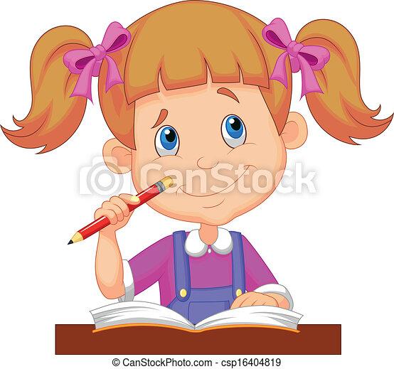 Vector Clip Art de poco, niña, caricatura, estudiar - vector ...
