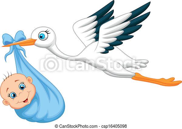 Cartoon Stork with baby  - csp16405098