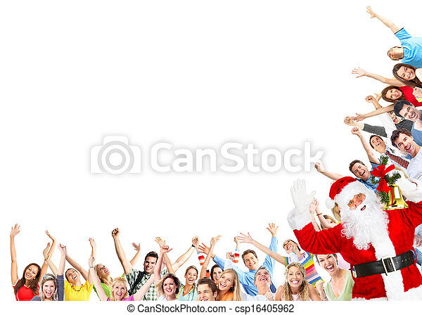 Christmas people group and Santa Claus - csp16405962