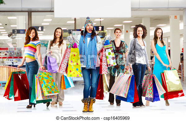 Woman with shopping bags - csp16405969