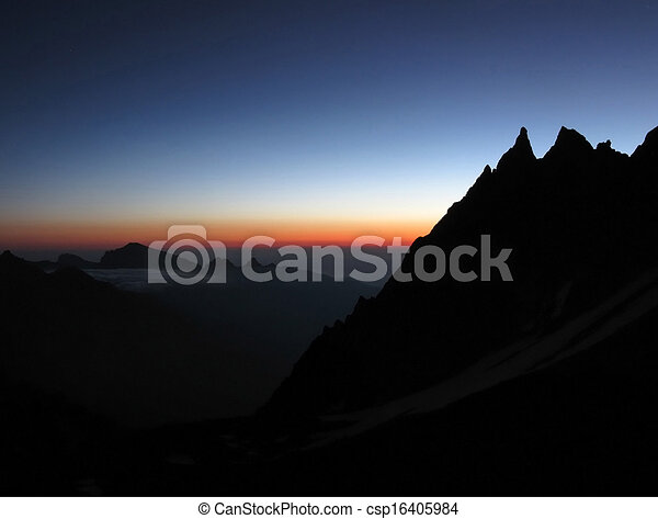 Mountains at sunset - csp16405984