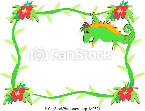 Frame of Chameleon and Hibiscus Flowers - csp1640621