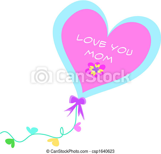 Love You Mom Decorative Balloon - csp1640623
