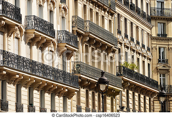 Original historic Parisian architecture - csp16406523