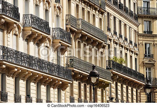 Original historic Parisian architecture - csp16406523