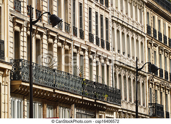 Original historic Parisian architecture - csp16406572