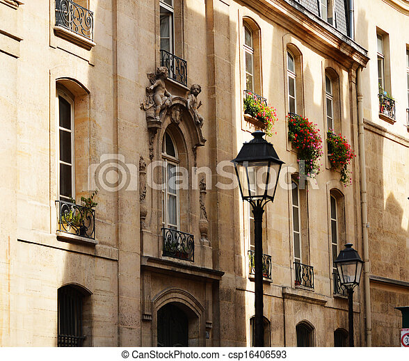 Original historic Parisian architecture - csp16406593
