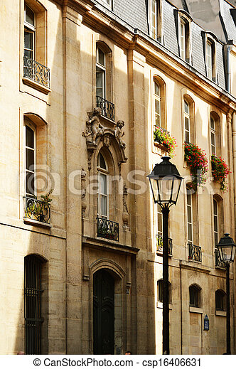 Original historic Parisian architecture - csp16406631