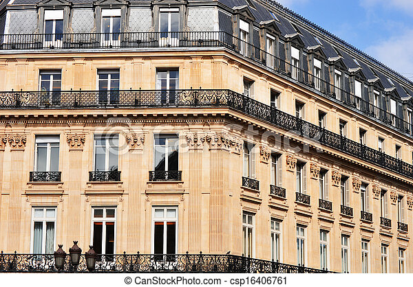 Original historic Parisian architecture - csp16406761