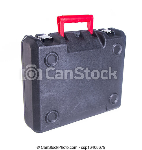Black plastic tool box on the background - csp16408679