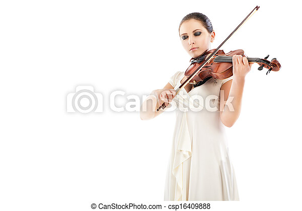 Beautiful young woman playing violin over white - csp16409888