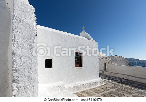 White Church on Mykonos - csp16410479