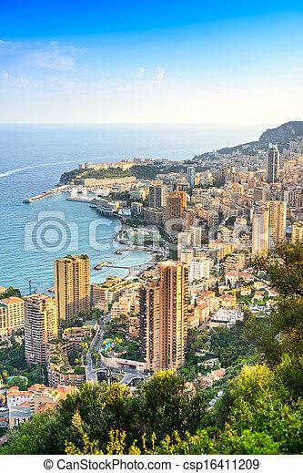 Monaco Montecarlo principality aerial view. Azure coast. France - csp16411209