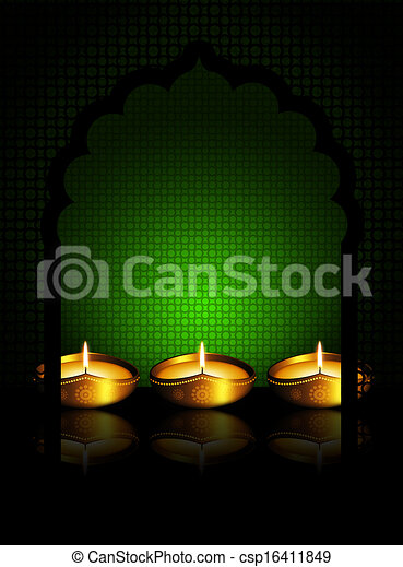 oil lamp with  place for diiwali diya greetings - csp16411849