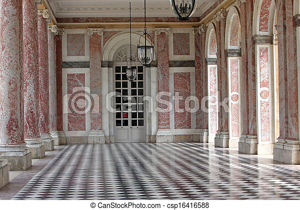 Colonnaded the Grand Trianon in Palace Versailles, France. The Grand Trianon was a private place for the king - csp16416588