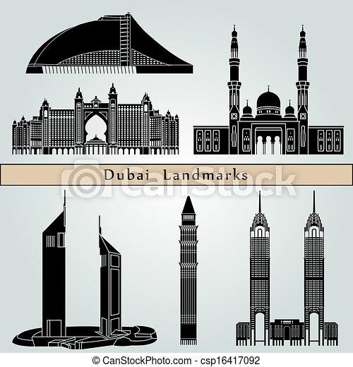 Dubai landmarks and monuments - csp16417092