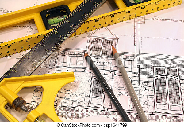 Architectural plans and tools for remodeling a home - csp1641799