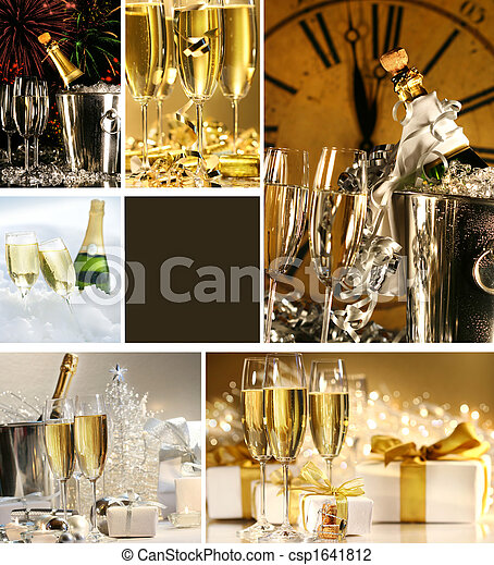 Collage of champagne images for New Years - csp1641812