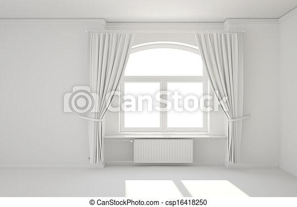 Photo vide blanc salle fen tre chauffage radiateur for Radiateur sous fenetre rideau