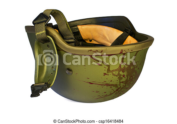 Bloody military helmet isolated - csp16418484