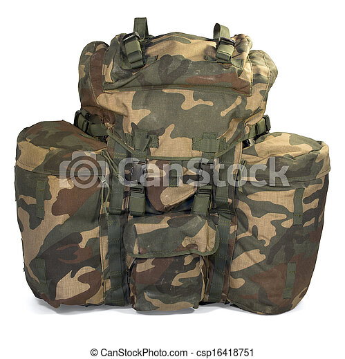 Military backpack isolated on white - csp16418751
